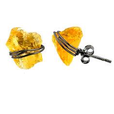 7.63cts black rhodium yellow citrine raw 925 silver stud earrings r79665