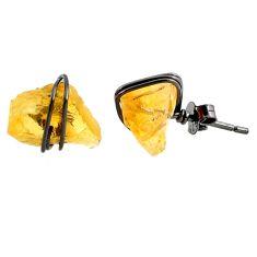 8.32cts black rhodium yellow citrine raw 925 silver stud earrings r79668