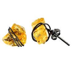 7.80cts black rhodium yellow citrine raw 925 silver stud earrings r79669