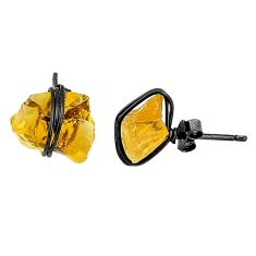 7.80cts black rhodium yellow citrine raw 925 silver stud earrings t6501