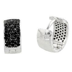 2.03cts black topaz quartz 925 sterling silver stud earrings jewelry c9499