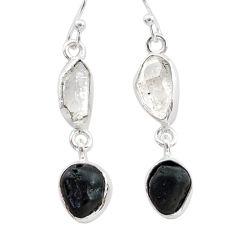 10.32cts black tourmaline herkimer diamond 925 silver dangle earrings t21162