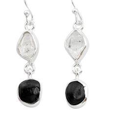 9.83cts black tourmaline herkimer diamond 925 silver dangle earrings t21164