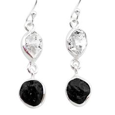 9.88cts black tourmaline herkimer diamond 925 silver dangle earrings t21167
