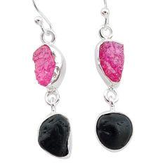 10.76cts black tourmaline herkimer diamond 925 silver dangle earrings t21170