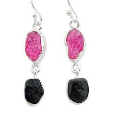 10.69cts black tourmaline ruby raw 925 silver dangle earrings t21171