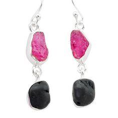11.07cts black tourmaline ruby raw 925 silver dangle earrings t21172