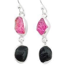 10.32cts black tourmaline ruby raw 925 silver dangle earrings t21177