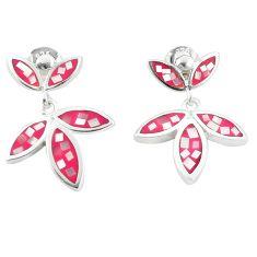 Blister pearl enamel 925 sterling silver dangle earrings jewelry a77482 c14278