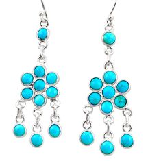 12.15cts blue arizona mohave turquoise 925 silver chandelier earrings r35607