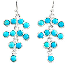 10.08cts blue arizona mohave turquoise 925 silver chandelier earrings r35631