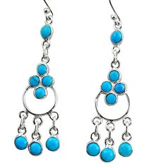 8.04cts blue arizona mohave turquoise 925 silver chandelier earrings r35665