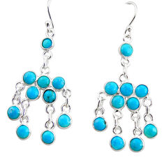12.22cts blue arizona mohave turquoise 925 silver chandelier earrings r35782
