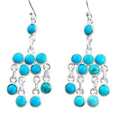 12.15cts blue arizona mohave turquoise 925 silver chandelier earrings r35785