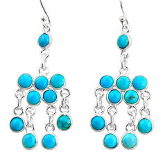 11.68cts blue arizona mohave turquoise 925 silver chandelier earrings r35789