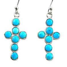 5.15cts blue arizona mohave turquoise 925 silver holy cross earrings r35731