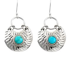 Clearance Sale- 2.06cts blue arizona mohave turquoise 925 sterling silver dangle earrings d39751
