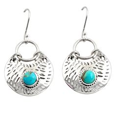 Clearance Sale- 2.41cts blue arizona mohave turquoise 925 sterling silver dangle earrings d45816