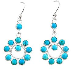 8.15cts blue arizona mohave turquoise 925 sterling silver dangle earrings r35521