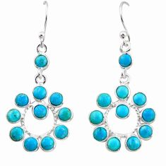 8.15cts blue arizona mohave turquoise 925 sterling silver dangle earrings r35522