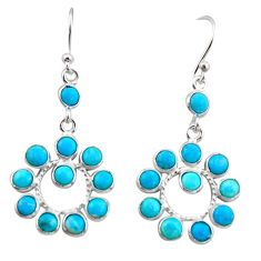 7.67cts blue arizona mohave turquoise 925 sterling silver dangle earrings r35526