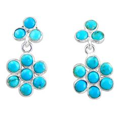7.15cts blue arizona mohave turquoise 925 sterling silver dangle earrings r35543