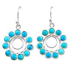 9.22cts blue arizona mohave turquoise 925 sterling silver dangle earrings r35561