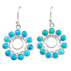 9.72cts blue arizona mohave turquoise 925 sterling silver dangle earrings r35566