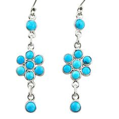 7.57cts blue arizona mohave turquoise 925 sterling silver dangle earrings r35647