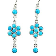 8.22cts blue arizona mohave turquoise 925 sterling silver dangle earrings r35648