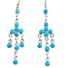 9.72cts blue arizona mohave turquoise 925 sterling silver dangle earrings r35706