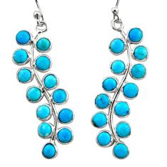 8.68cts blue arizona mohave turquoise 925 sterling silver dangle earrings r35743