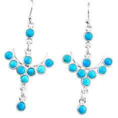 9.22cts blue arizona mohave turquoise 925 sterling silver dangle earrings r35763