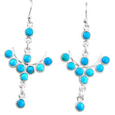 9.18cts blue arizona mohave turquoise 925 sterling silver dangle earrings r35768