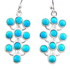 7.65cts blue arizona mohave turquoise 925 sterling silver dangle earrings r35809