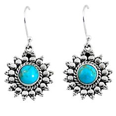 3.11cts blue arizona mohave turquoise 925 sterling silver dangle earrings r55162