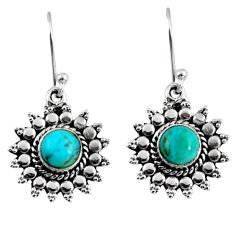 2.90cts blue arizona mohave turquoise 925 sterling silver dangle earrings r55180