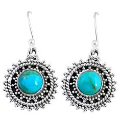 3.02cts blue arizona mohave turquoise 925 sterling silver dangle earrings r55181