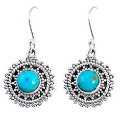 2.78cts blue arizona mohave turquoise 925 sterling silver dangle earrings r55182