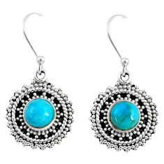3.11cts blue arizona mohave turquoise 925 sterling silver dangle earrings r55183