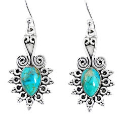 4.28cts blue arizona mohave turquoise 925 sterling silver dangle earrings r55202