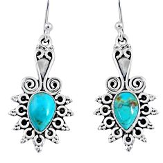 4.28cts blue arizona mohave turquoise 925 sterling silver dangle earrings r55203