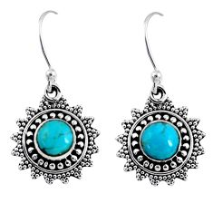 1.74cts blue arizona mohave turquoise 925 sterling silver dangle earrings r55228