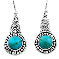 2.44cts blue arizona mohave turquoise 925 sterling silver dangle earrings r55241