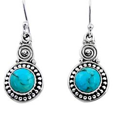 2.39cts blue arizona mohave turquoise 925 sterling silver dangle earrings r55242
