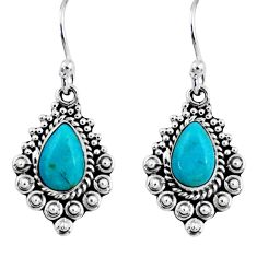 4.42cts blue arizona mohave turquoise 925 sterling silver dangle earrings r55243