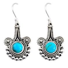 2.95cts blue arizona mohave turquoise 925 sterling silver dangle earrings r55285