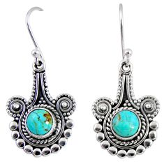 2.56cts blue arizona mohave turquoise 925 sterling silver dangle earrings r55293