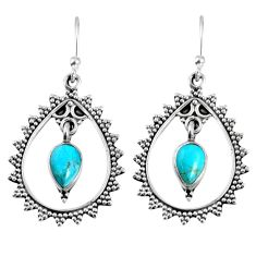 4.30cts blue arizona mohave turquoise 925 sterling silver dangle earrings r59646