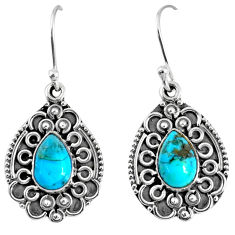 4.68cts blue arizona mohave turquoise 925 sterling silver dangle earrings r59725